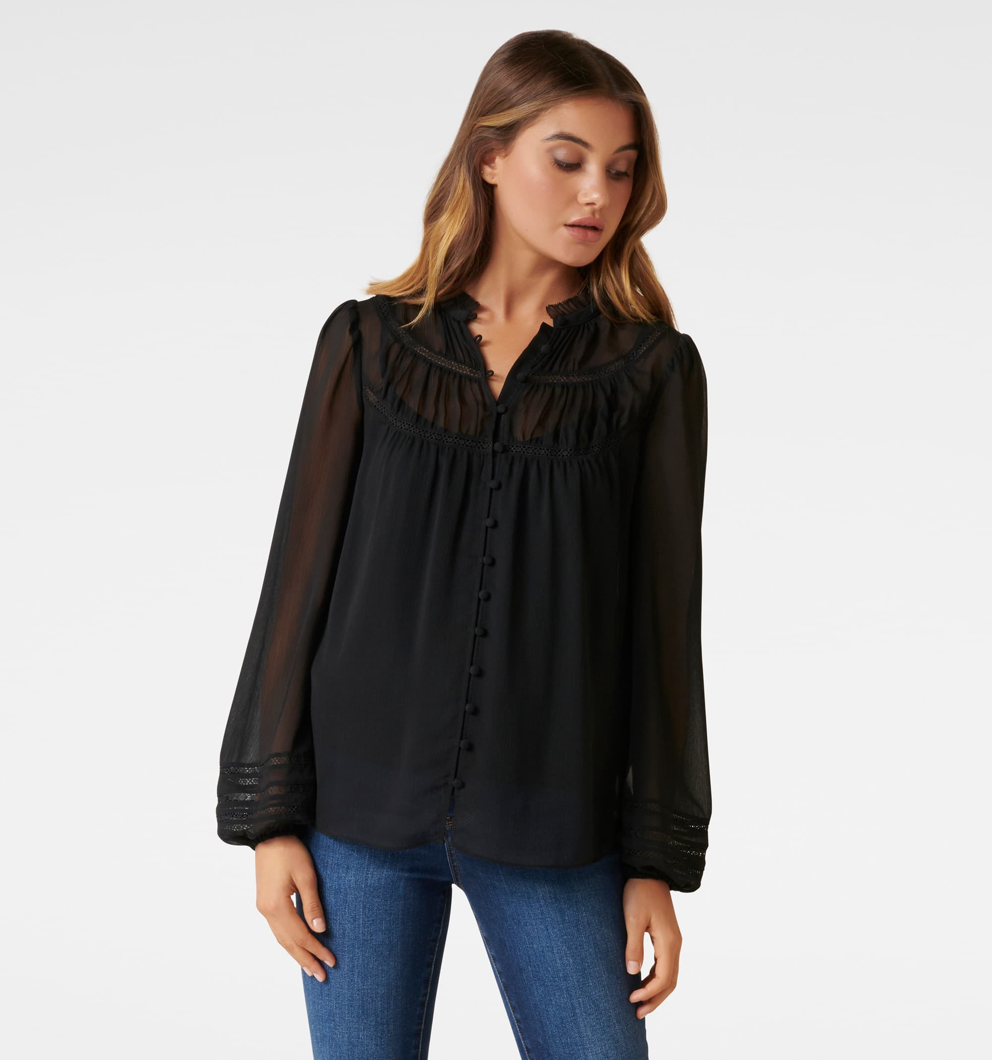 Cornelia Curved Yoke Blouse