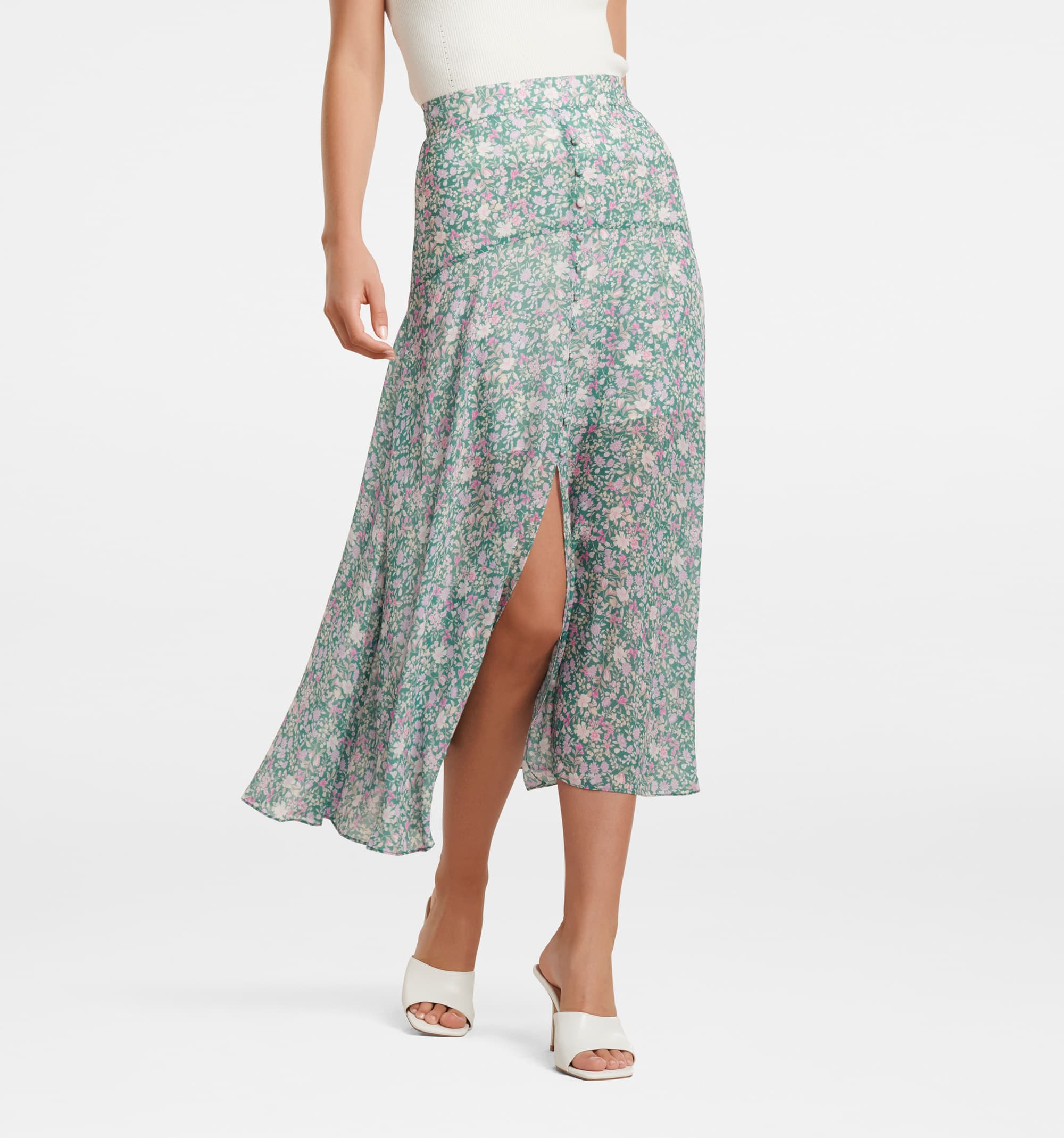 Bronte Button Front Midi Skirt