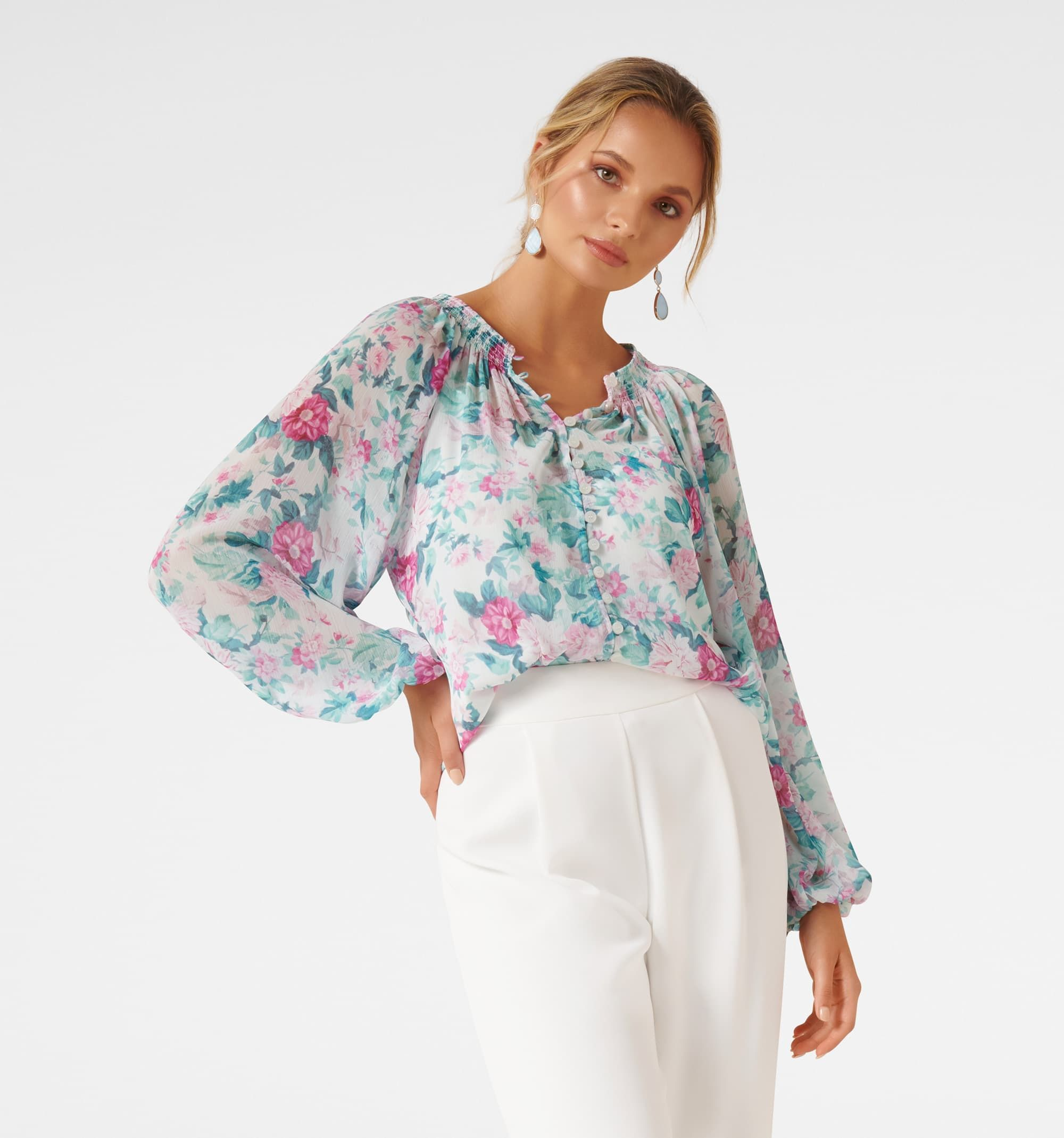 Issy Gathered Pintuck Blouse